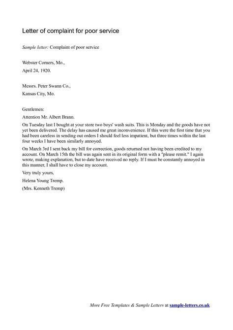 sample letters  complaint  poor service scrumps