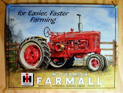 mccormick farmall tractor tin sign farm country
