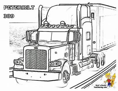 Coloring Truck Pages Peterbilt Semi Trucks Printable