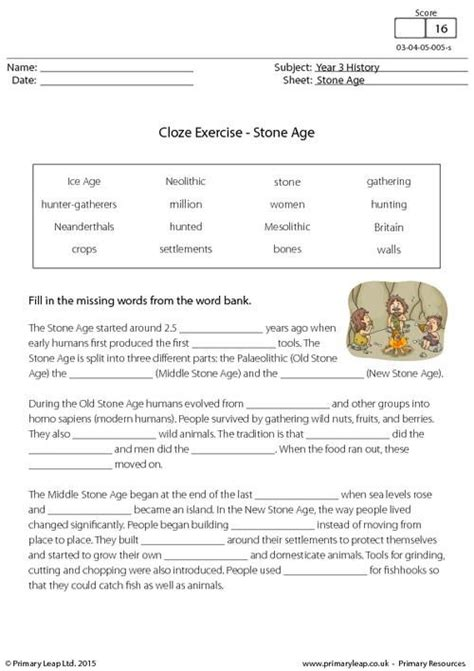 primaryleap co uk cloze exercise the stone age worksheet history printable worksheets