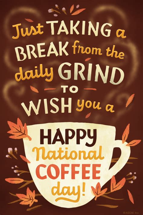 national coffee day  september ecard blue