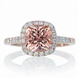 15 carat perfect cushion morganite and diamond engagement With rose diamond wedding ring