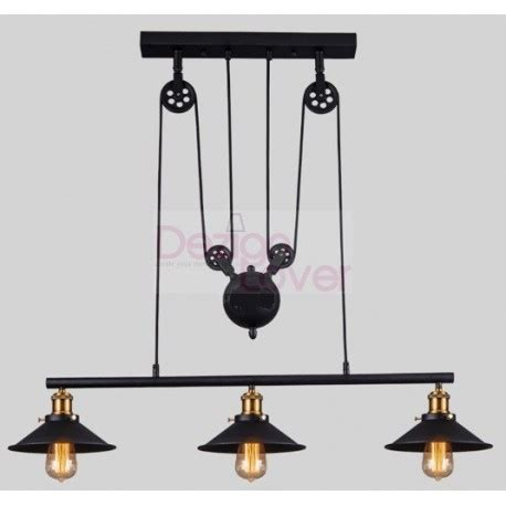 Suspension Triple Design Industriel Avec Poulie Par