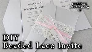 how to make a beaded lace pocket invitation diy wedding With diy pocket wedding invitations youtube