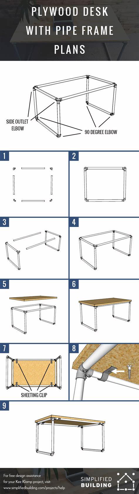 diy plywood desk  pipe frame plans  build