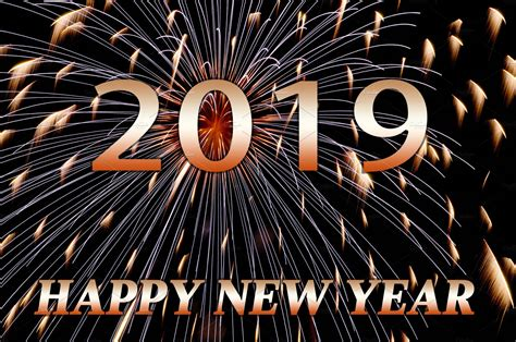 Happy New Year 2019 Text, Fireworks
