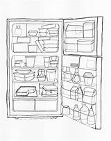 Fridge Coloring Drawing Open Office Refrigerator Pages Printable Getdrawings Getcolorings Print sketch template