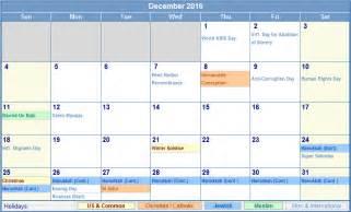 december 2016 calendar with holidays