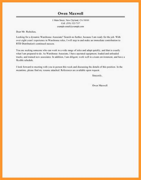 Cover Letter For Warehouse Worker by 12 13 Sle Cover Letter For Warehouse Associate