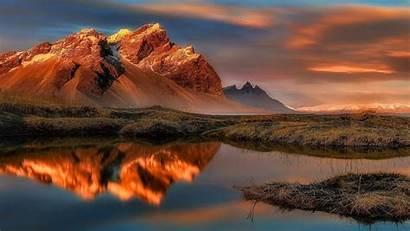 Iceland Reflection Water Wallpapers Dawn Vestrahorn Wilderness