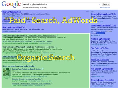 Web Search Engine Positioning - what are organic versus paid search engine listings