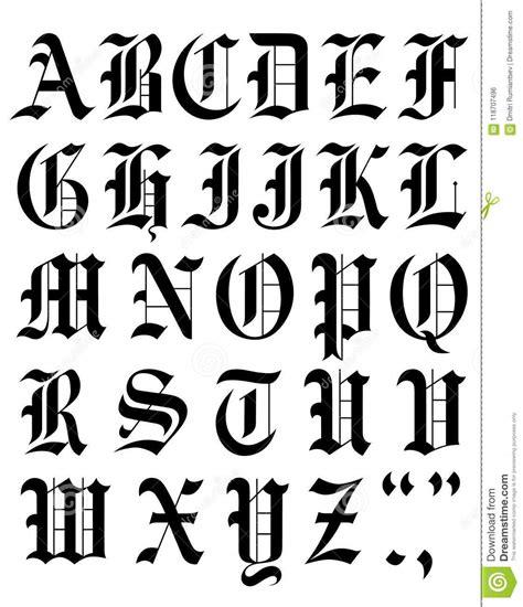 lettere alfabeto gotico schizzo gotico stabilito di alfabeto di vettore della