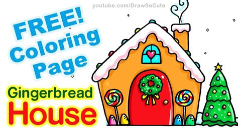 draw  gingerbread house step  step easy youtube