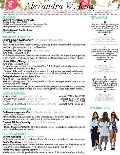 Creative Fashion Resume by 1000 Images About Resume On Junior Fashion