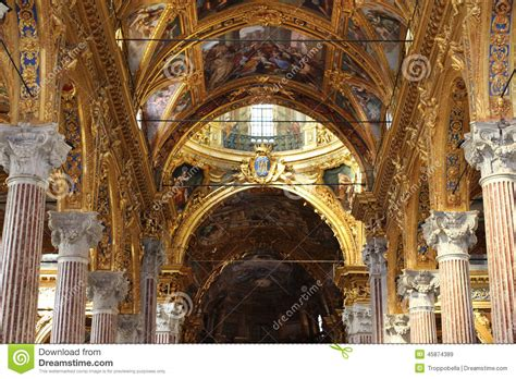 Italian Ceiling by Golden Ceiling Of Italian Cathedral Editorial Stock Image