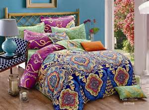 blue purple green floral bedding comforter set queen size duvet cover sheets bedspread bed in a
