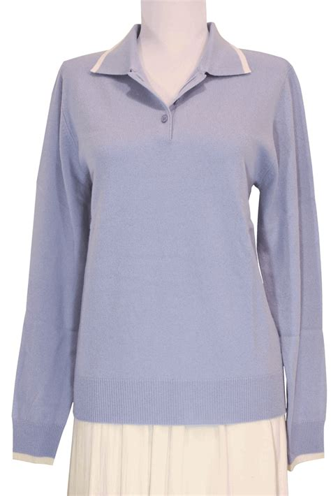 light blue cashmere sweater women 39 s polo cashmere sweater with decorative lines light