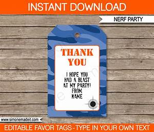 Nerf Birthday Party Favor Tags Thank You Tags Blue Camo