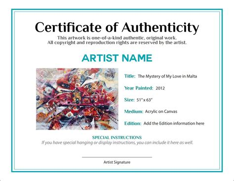 Certificate Of Authenticity Template Bill Of Sale Certificate Of Authenticity Agora Gallery
