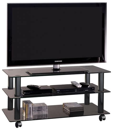 porta tv cristallo york mobile porta televisore in cristallo su ruote 90 cm
