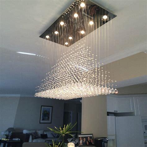 pyramid raindrop rectangular crystal ceiling light