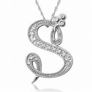 Beautiful Cursive Font S Initial Pendant Necklace for love