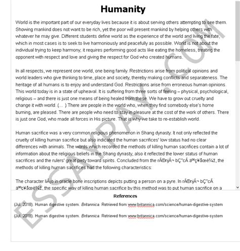 The thesis dedication is a place in where you can provide a brief but kind regards to the person or people who have been helpful in your academic journey if you've ever search for example papers online then you probably already know about the growing professional academic writing industry. Humanity Essay Example for Free - 1070 Words | EssayPay