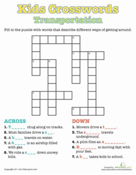 kids crosswords transportation january transportation