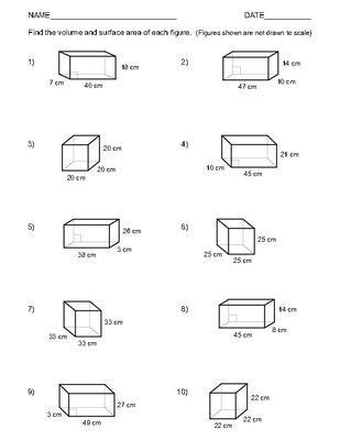 volume and surface area of rectangular prisms two worksheets 1 10 homeschool ideas area