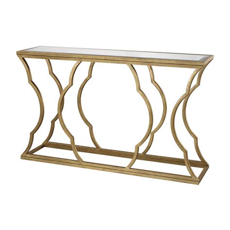 gold console table titan lighting metal cloud antique gold leaf mirrored top