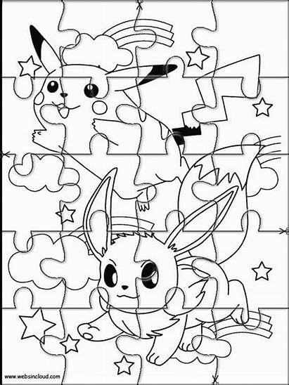 Pokemon Coloring Puzzle Puzzles Cut Jigsaw Printable