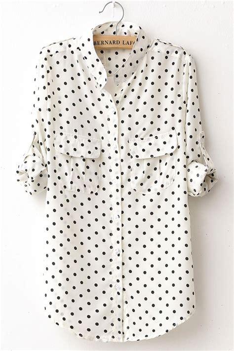 polka dot blouses fashion polka dot print sleeve shirt oasap com
