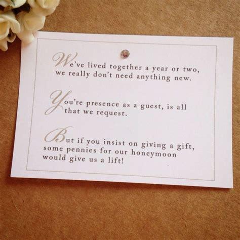 wedding invitation wording  monetary gifts