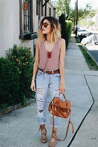 How to wear boyfriend jeans summer outfit - howto-wear.com