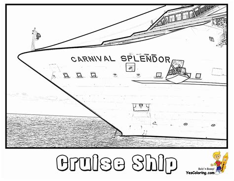 Cruise Ship Coloring Pages Cruises Free Ship