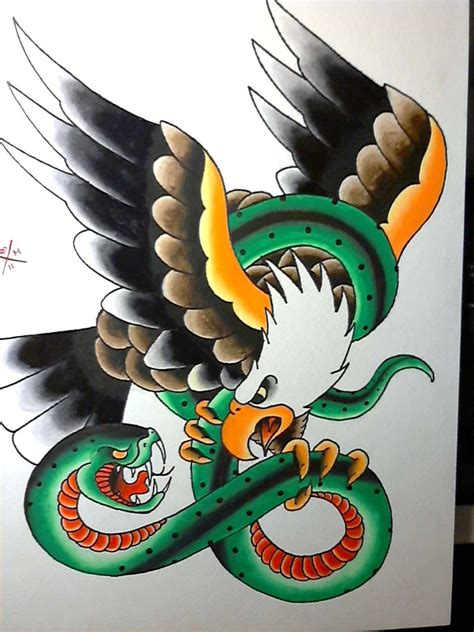 traditional style american bald eagle  green snake tattoo design