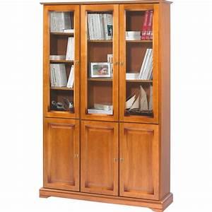 Meuble Bibliothèque Pas Cher : meuble biblioth que merisier 6 portes vitr es beaux meubles pas chers ~ Teatrodelosmanantiales.com Idées de Décoration