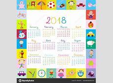 Marco con calendario 2018 los juguetes para niños