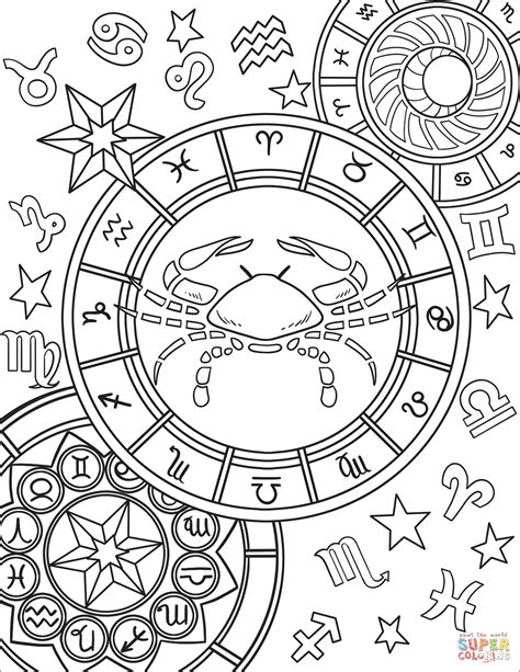 constellation of capricorn worksheet cancer zodiac sign coloring page free printable coloring