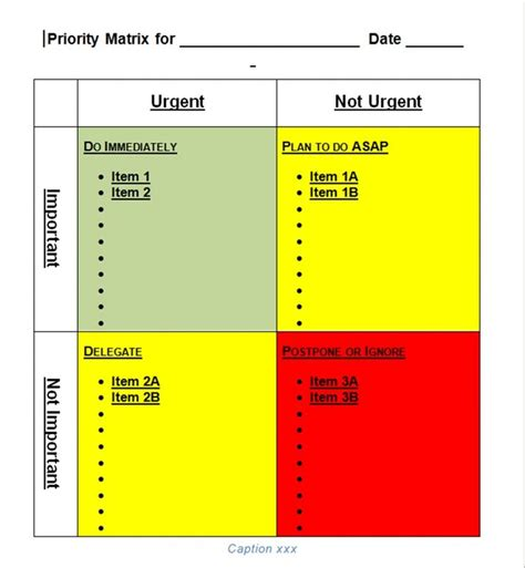 priority matrix template  word templates tools