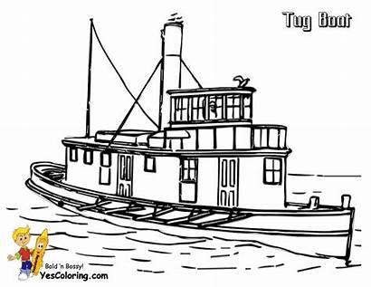 Coloring Ship Barge Tugboat Printables Boat Tug