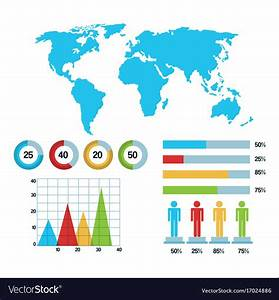 World Map Infographic Demographic Statistics Vector Image