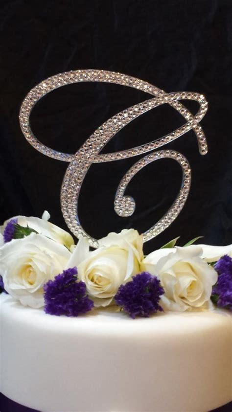 tall initial monogram wedding cake topper swarovski