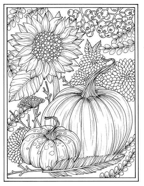 fall flowers  pumpkins digital coloring page thanksgiving