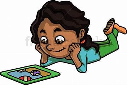 Tablet Using Cartoon Clipart Watching Boy Friendlystock