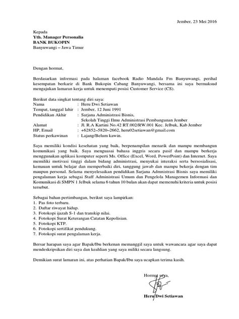 contoh surat lamaran kerja sebagai customer service