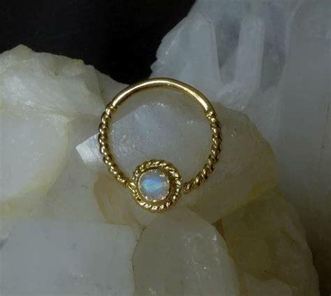 moon stone septum gold plated septum  pierced nose