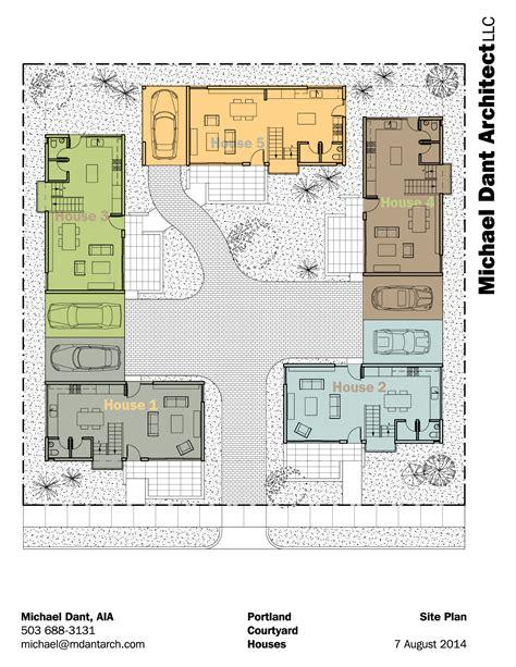 home architect plans portland courtyard community michael dant architect