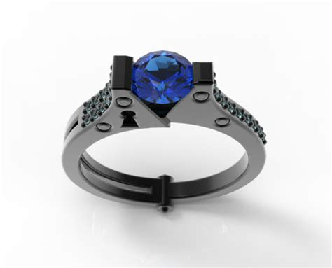 Aquamarine And Blue Sapphire Handcuff Engagement Ring Pave