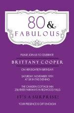 80th Birthday Invitations Purple and Fabulous 80th